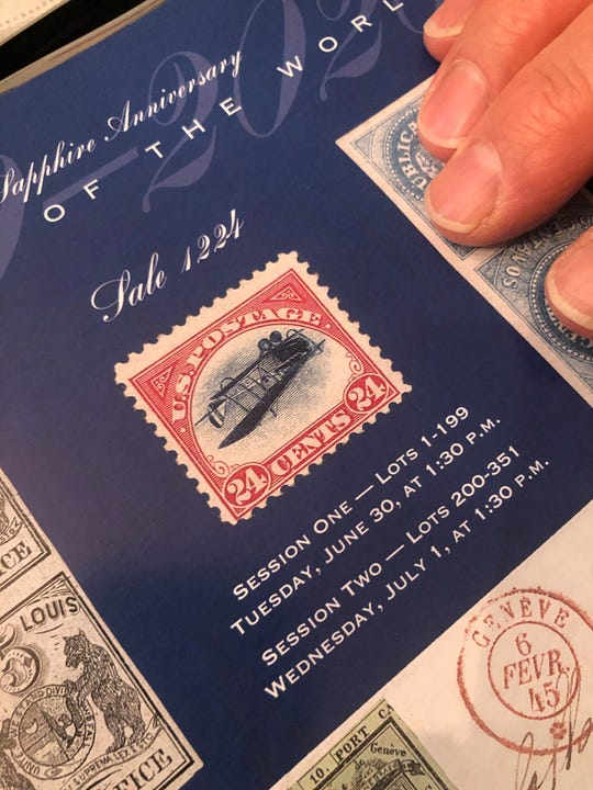 The inverted Jenny is one of the most famous stamps in the world. In 1918, 100 of the stamps with an upside down airplane were printed in error. Ronald Bassey, who has secretly owned one of the stamps for 40 years, will relinquish it in a July 1 auction, at which the stamp is expected to bring at least $200,000.