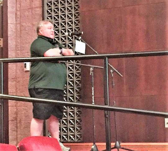 Canton Soccer Club President Jimmy Harkins addressed the Canton Township Board of Trustees Tuesday night.