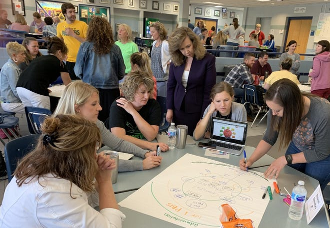 In this photo, provided by the Oshkosh Area School District, Superintendent Vickie Cartwright (center) observes as principals, teachers and staff members undergo in-depth Integrated Comprehensive System for Equity framework training in June 2019.