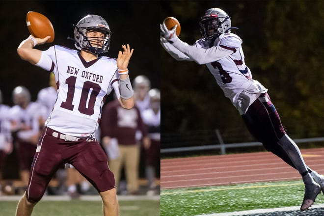 New Oxford's Brayden Long (left) and Abdul Janneh were two of the top football players in the league during their high school careers.   In their final season, Janneh led all YAIAA wide receivers with 57 catches, 1,072 receiving yards and 14 touchdowns and Long set the Adams County career passing yards record.   Both will continue their football careers at the next level; Long has committed to Slippery Rock University and Janneh has signed on to Duquesne University.