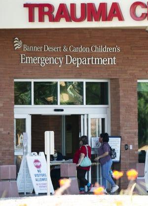 The scene outside the emergency room at Banner Desert Medical Center in Mesa on June 9, 2020.