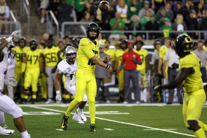 Redshirt sophomore quarterback Tyler Shough is the favorite to replace Justin Herbert as Oregon's starter.