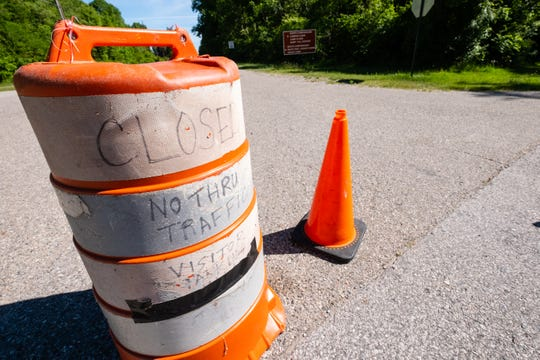 Barricades block access to the campsites at Lakeport State Park, which will remain closed until August as a result of the coronavirus pandemic.