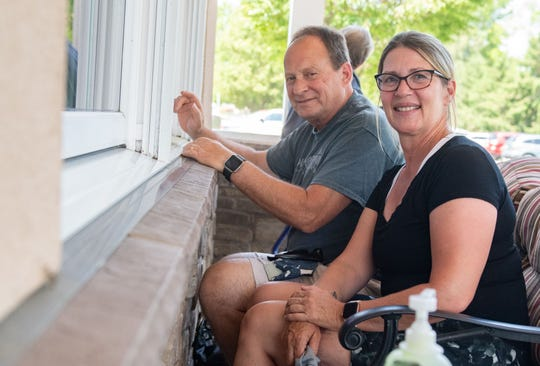 Lisa and Rich Wendt visit a loved one at Country Meadows, June 9, 2020.
