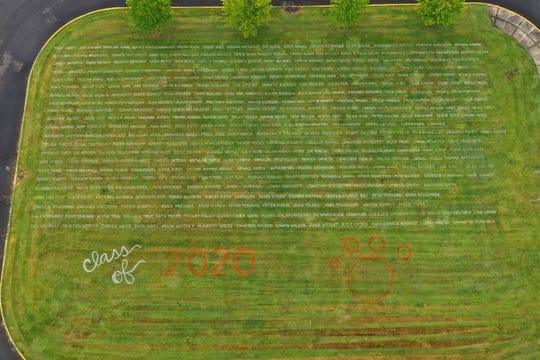 Every Silverton High School senior's name was painted in the green space in front of the school on May 1, 2020. This was one of many ways educators and parents were teaming up to honor the class of 2020.