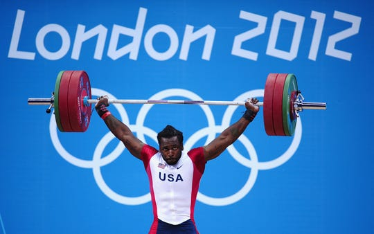 Kendrick Farris competes in the Mens 85kg Weightlifting at the London 2012 Olympic Games at ExCeL on August 3, 2012 in London, England.