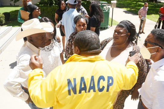 A press conference was held Wednesday, June 10, 2020, outside the Caddo Parish Courthouse concerning the death of 44-year-old Tommie McGlothen Jr., who died while in police custody.