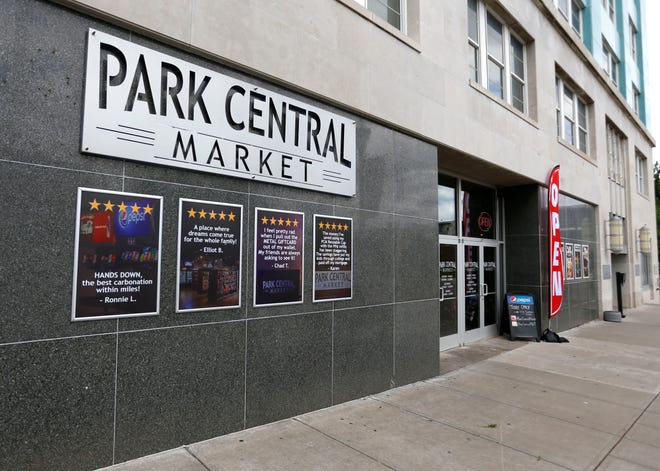 "The Park Central Market in downtown Springfield has a ""no masks allowed"" policy, citing security reasons."