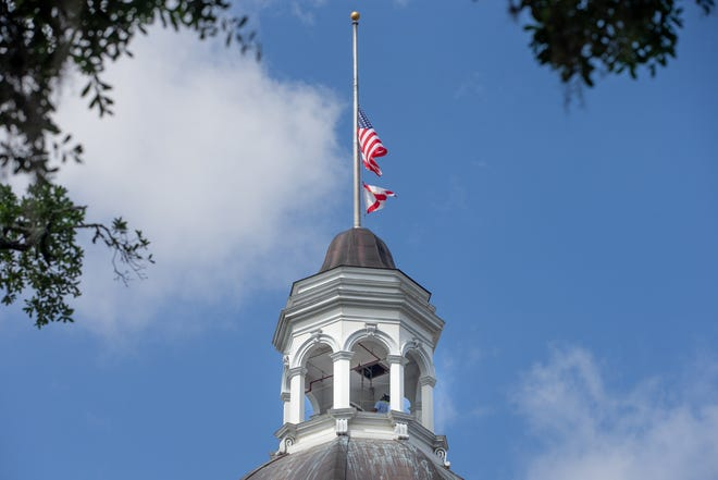 Gov. Ron DeSantis directed flags to half staff in Tallahassee to honor the lateAssociate Deputy Attorney General Chesterfield H. Smith Jr.