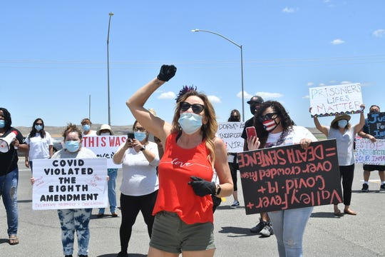 Protesters gathered outside Avenal State Prison on Saturday to call attention to a massive COVID-19 outbreak at the facility that has so far infected more than 800 inmates.