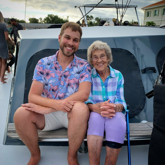 Brad Ryan and his grandmother Joy at the U.S. Virgin Island National Park, the most recent park the duo visited on their quest to visit all 62.