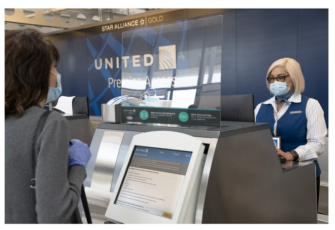 United Airlines passengers flying during the coronavirus pandemic must fill out a health assessment during online check-in, on its mobile app or at the airport.