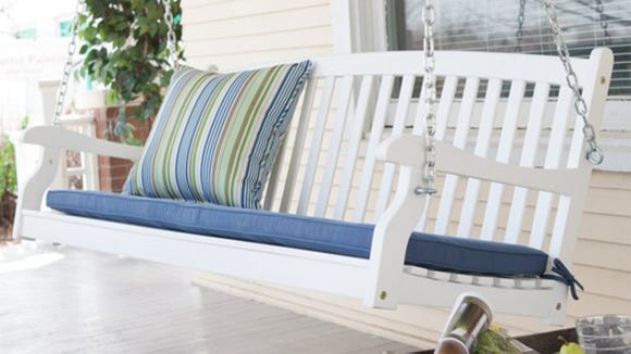 Swing life away in this porch bench.