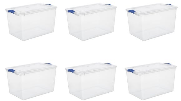 Organize your attic or basement with these clear storage bins.