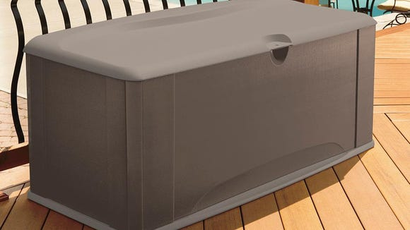 This deck box offers both seating and storage.