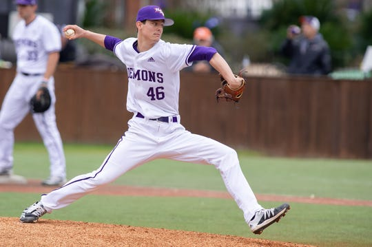 Northwestern State pitcher Johnathan Harmon (46) fires a pitch during a game in February.