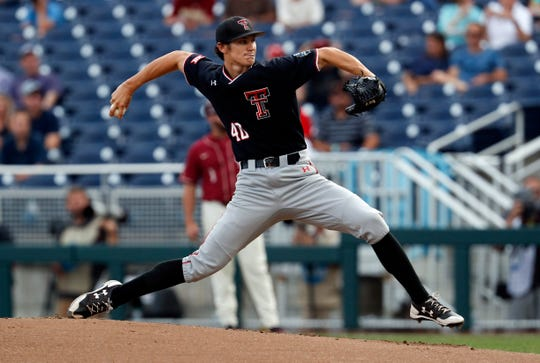 June 19, 2019; Omaha, NE, USA; Texas Tech Red Raiders pitcher Bryce Bonnin (40) throws in the first round against the Florida State Seminoles in the College College World 2019 at TD Ameritrade Park. Mandatory Credit: Bruce Thorson-USA Today Sports