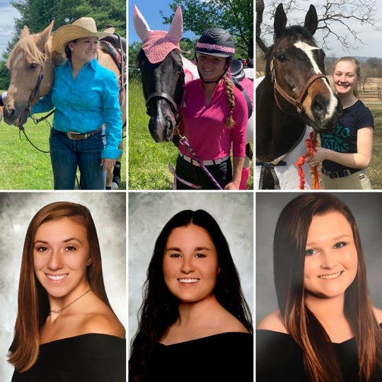 Pictured (top row, left to right) are recent winners from the FFA Veterinary Science Career Development Event on the Horse Evaluation team: Lauren Jarowicz, Emma Bacon and Victorialynn Byk (not pictured is Zia Tomasi). (Bottom row, left to right) Recent winners from the Veterinary Science team: Ashlee Gibbons, Mollie Zimm and Jordan Russell (not pictured is Jenny Ball).