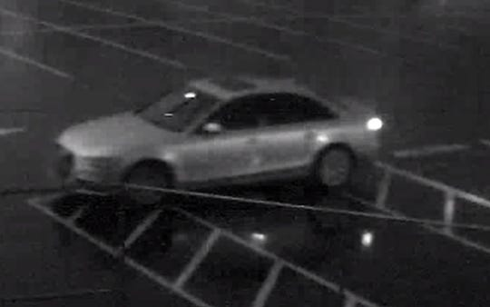 Police are looking for the driver of this silver four-door vehicle who allegedly vandalized Piscataway High School last week.