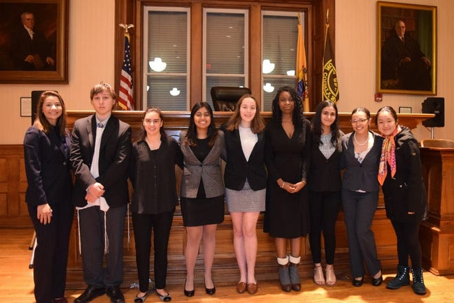 The 2020 North Hunterdon Championship Mock Trial Team. (Left to right) Alexandra Macce, 2020 Scholarship recipient; Ryan Buchman, Samantha Snyder, Danica Chakroborty, Samantha Muller, Mia Kemp, Simran Sharma, Imani Walker and Eileen Li.  Not pictured: Sabriana Wojdyla, Jenna Lebbing and Vikram Kumar.