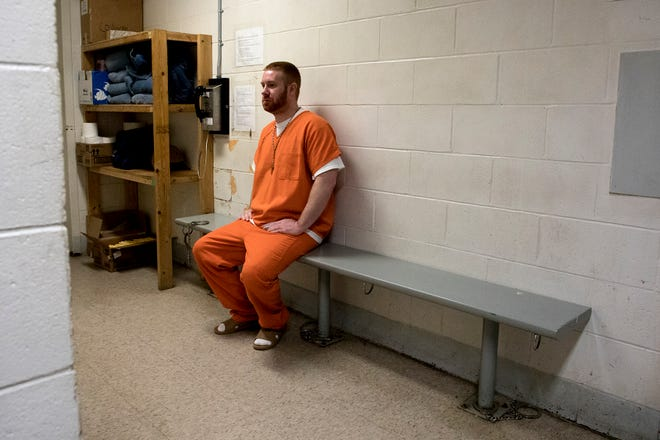 DJ Lanham waits to be taken back to his cell after a trip to the dentist. Lanham dealt with unbearable tooth pain for months while living at the Coshocton Justice System. Dentists offices were shut down though due to the coronavirus so Lanham had to live with the pain for months until offices were open again and jail officials could organize an appointment for him.