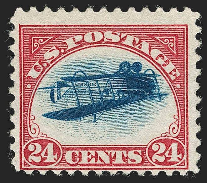 The Inverted Jenny error stamp position 11 is set to be auctioned on July 1 by the Robert A. Siegel Auction Galleries.