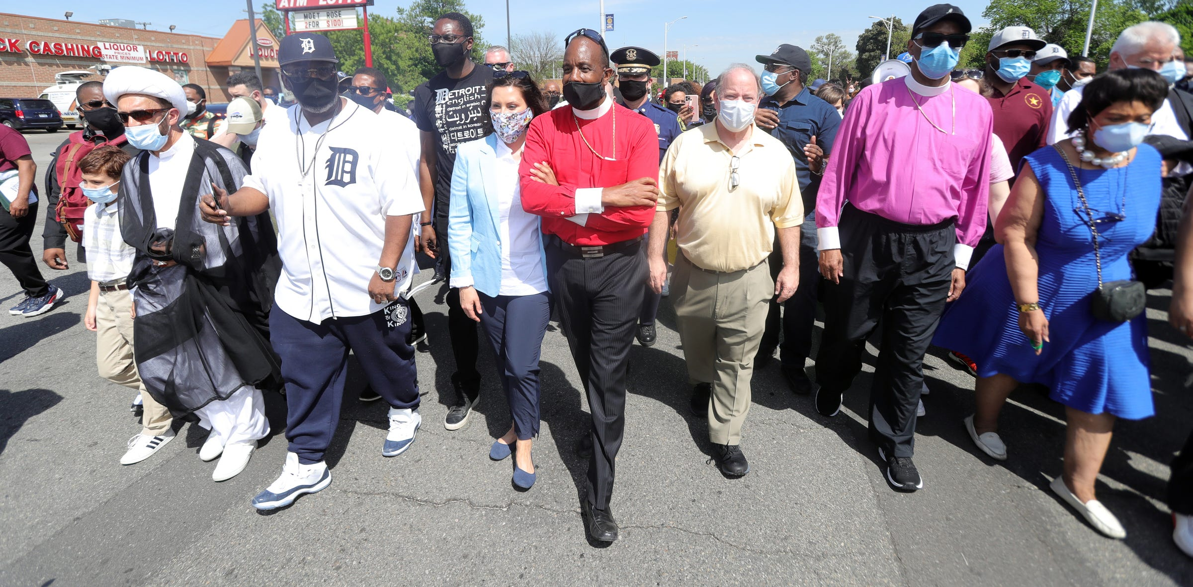Gov. Gretchen Whitmer, Greater Grace Temple pastor Charles H. Ellis III and Detroit mayor Mike Duggan were among those who marched against police brutality on Thursday, June 4, 2020 in Detroit Michigan. The leaders represented churches, temples and mosques from around the metro area.