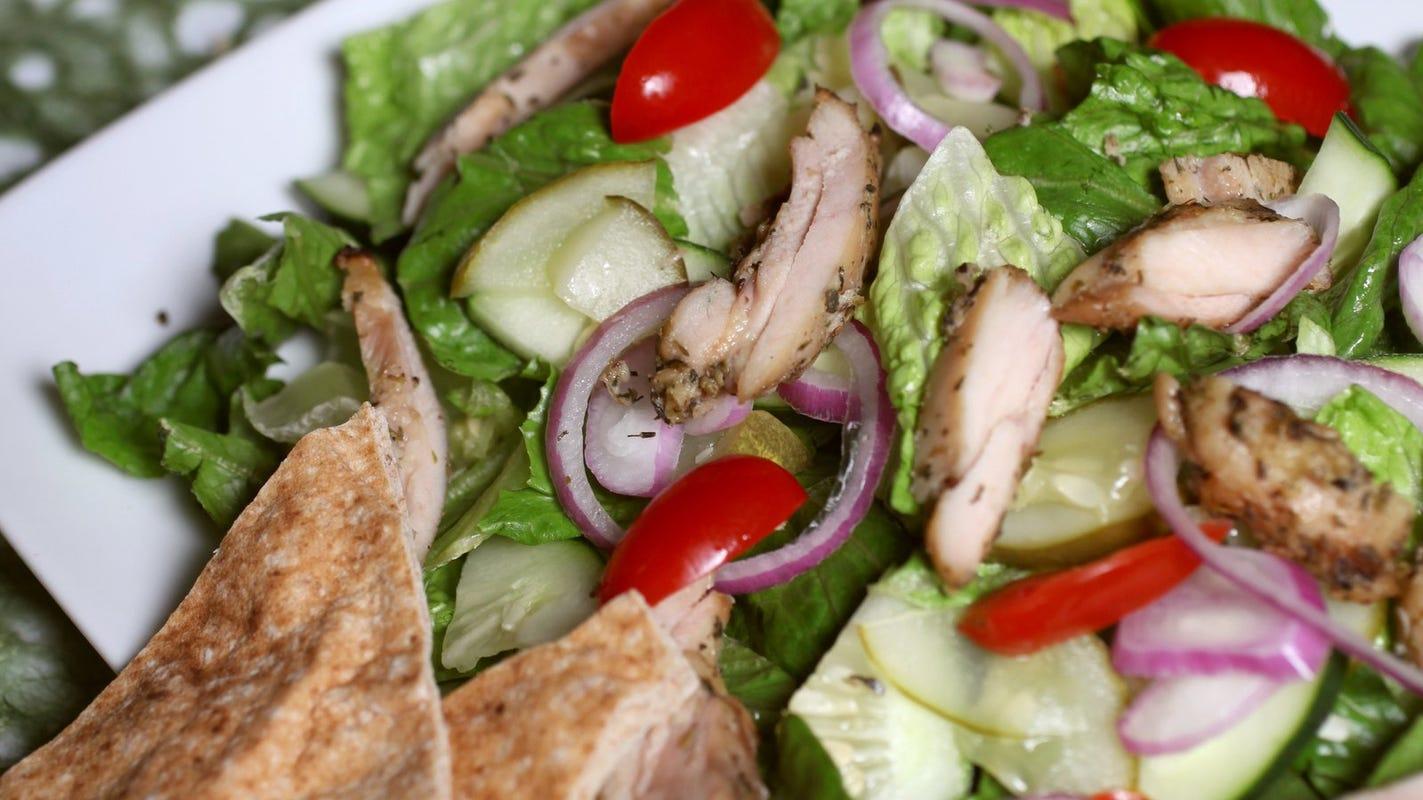 Lower-fat yogurt dressing keeps Chicken Shawarma Salad healthful