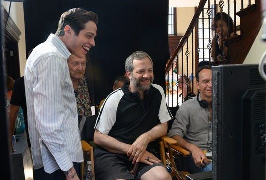 "Pete Davidson and Judd Apatow on the set of ""The King of Staten Island."""