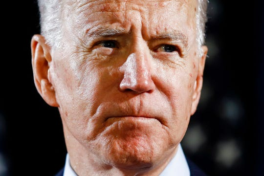 """In this March 12, 2020, file photo Democratic presidential candidate former Vice President Joe Biden speaks about the coronavirus in Wilmington, Del. Biden says his chief worry is that President Donald Trump will attempt to """"steal"""" the November election."""