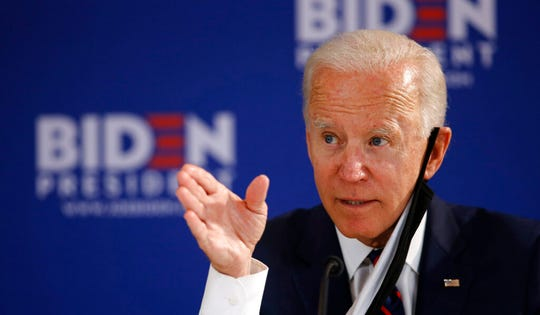 Democratic presidential candidate, former Vice President Joe Biden speaks during a roundtable on economic reopening with community members, Thursday, June 11, 2020, in Philadelphia. Biden laid out an eight-step plan to reopen the economy safely and restore consumer confidence