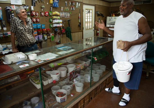 Ray Carter chats with Jimmy McCormick, owner of The Bait Bucket in Evansville, after getting some worms and minnows Tuesday afternoon, June 9, 2020. McCormick and his dad, Jim, have been running the bait shop since 1984, but it had been around since 1958. McCormick said it's the strangest year for fishing he's experienced, but has seen a steady stream of customers over the past few months of the COVID-19 pandemic.