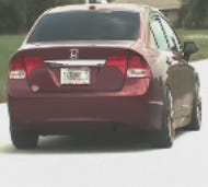 Cape Coral Police Department is looking to identifythis dark red, four-door Honda, fitted with aftermarket rims, and the occupants as part of an ongoing criminal mischief investigation.