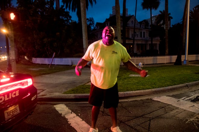 Cape Coral resident Albert Laday Jr. releases pent up emotions while joining a group of protesters on Friday June, 5, 2020