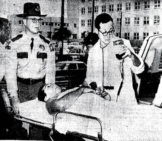 Alton Crowe is shown on his arrival at the Charity Hospital in New Orleans on July 8, 1965. Crowe was shot by Deacons of Defense and Justice member Henry Austan as blacks were protesting the murder of Washington Parish's first African American deputy, Oneal Moore.