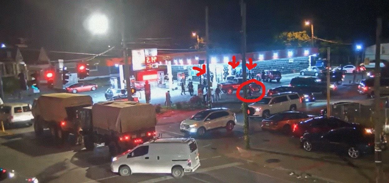 LMPD Officer Katie Crews can be seen crossing the street toward YaYa's BBQ stand, where its owner was gunned down by the National Guard less than a minute later. She was shooting pepper balls near the business.
