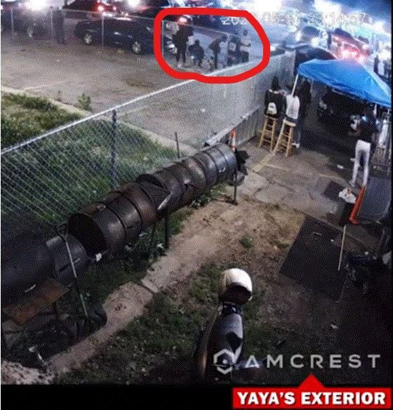 Outdoor surveillance footage of YaYa's BBQ shows people lingering nearby before an officer shoots pepper balls at them, forcing them inside David McAtee's kitchen.