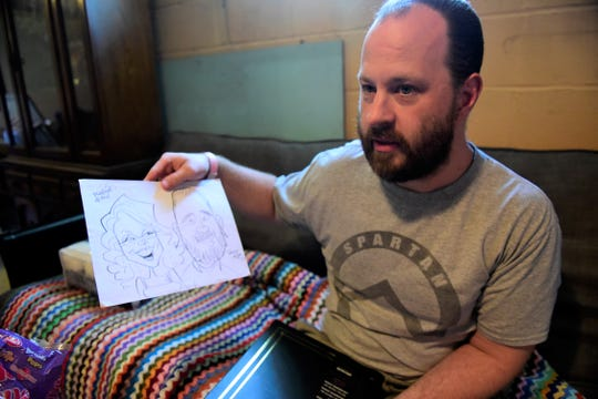 Josh Boggs recalls the day someone drew a caricature of him and his late wife, Stacey.