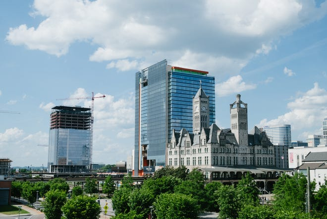 The historic Union Station Hotel has been purchased by Southwest Value Partners, the San Diego company developing the 17-acre Nashville Yards. That project's Grand Hyatt and Amazon office towers can be seen behind the hotel.