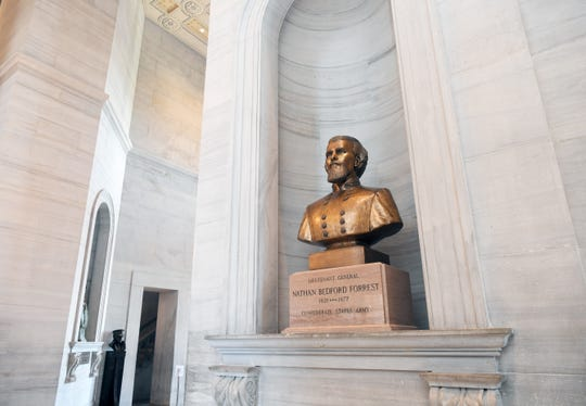 A bust of Nathan Bedford Forrest is on display in Tennessee State Capitol on June 11, 2020.