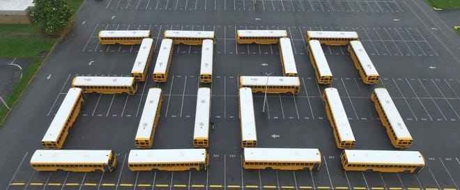 Sumner County buses have been arranged in a 2020 in honor of graduating seniors.