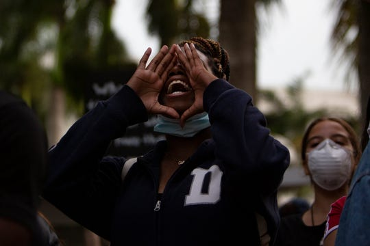 """Community members participate in the """"We Can't Breathe"""" rally, Wednesday, June 10, 2020, at the Collier County Courthouse in East Naples."""