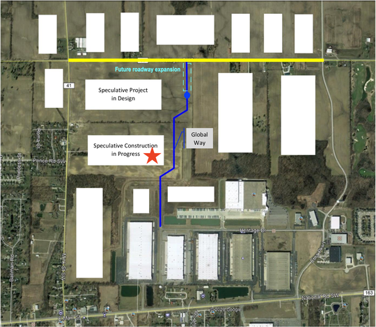 The star on this map submitted to the Ohio Controlling Board indicates the building currently under construction fronting Mink Street, and the intended road whose funding is to be decided Monday.