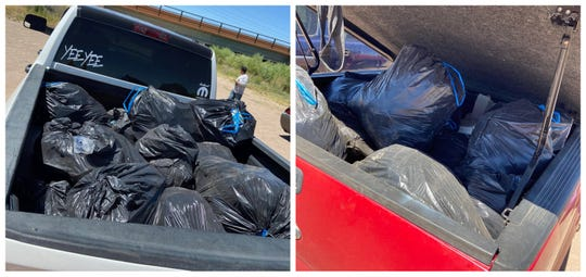Paul Telles Jr. and a group of four people filled two trucks worth of trash along the Rio Grande in an effort to keep the environment clean on Tuesday.