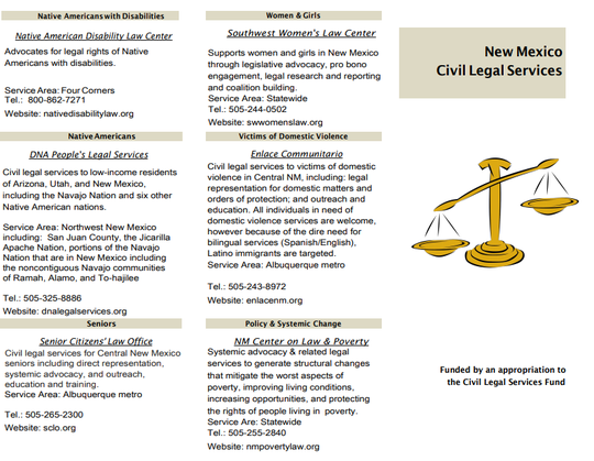 A list of civil legal services for New Mexicans in need of help during the COVID-19 pandemic.