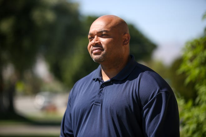 City Councilman Waymond Fermon in Indio, Calif., on Wednesday, June 10, 2020. Fermon grew up in Indio and is now a corrections officer.