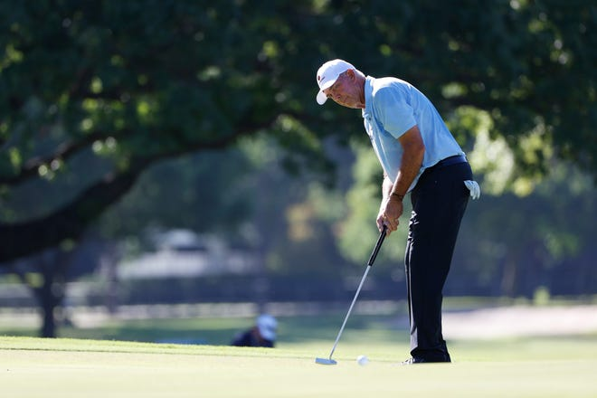 FORT WORTH, TEXAS - JUNE 11: Tom Lehman of the United States putts on the second green during the first round of the Charles Schwab Challenge on June 11, 2020 at Colonial Country Club in Fort Worth, Texas.