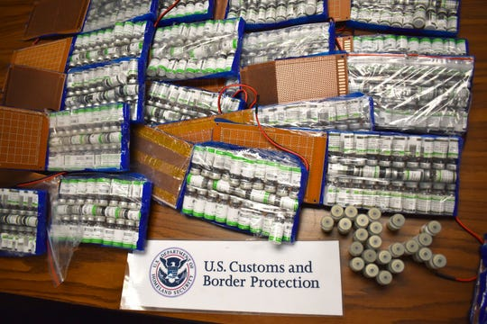 U.S. Customs and Border Protection officers intercepted a large cache of human growth hormones from Poland Tuesday that was destined to an address in St. Clair County.