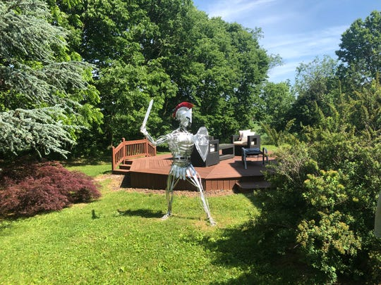 Drive around Mercersburg, and you will see a life-size, aluminum horse outside a front yard.  Look a little closer, and there are a couple other sculptures, nestled behind a warehouse.  The art, which has caught some of the town's eye, is created by Craig Schwartz.