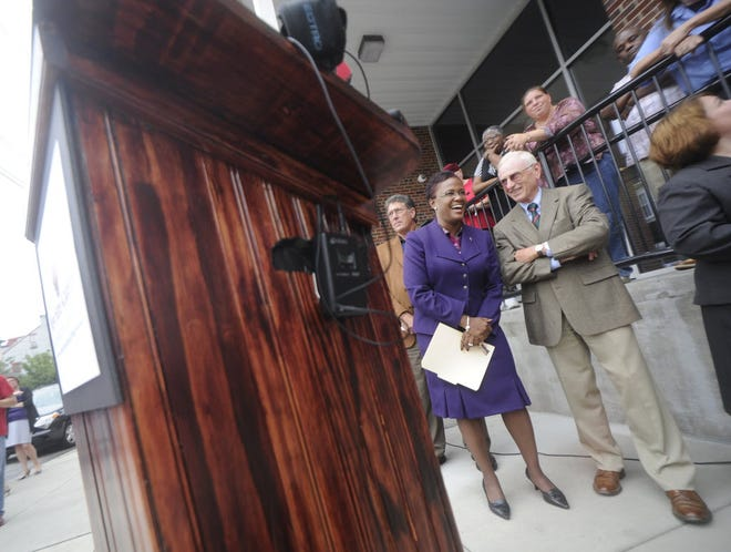 """Former York Mayor C. Kim Bracey shares a laugh with Robert A. Kinsley. """"(He was) someone I could call on throughout my career,"""" she said."""